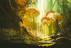 Abstract autumn forest with waterfall. Digital painting Vector Illustration