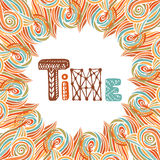 Abstract autumn frame. Time doodle lettering. Orange decoration Stock Image