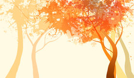 Abstract autumn garden. With tree, landscape with light background Stock Illustration