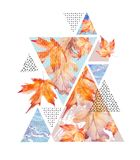 Abstract autumn geometric poster. Triangles with maple, oak leaves, marble, grunge textures. Abstract geometric background. Hand drawn natural illustration stock illustration