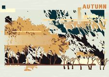 Abstract autumn landscape. Vector forest background at glitch style royalty free illustration