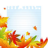 Abstract autumn leaves background. Abstract colorful autumn leaves on white note paper Stock Photo