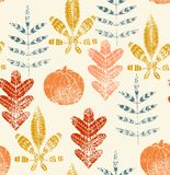 Abstract autumn leaves. Hand drawn seamless pattern Royalty Free Stock Images
