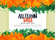 Abstract autumn leaves sale banner background. Vector Vector Illustration