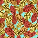 Abstract autumn leaves seamless pattern, vector background. Hand-drawn leaves on a blue background. For fabric design Royalty Free Stock Photography