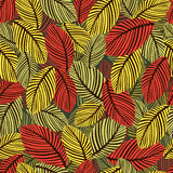 Abstract autumn leaves seamless pattern, vector background. Hand-drawn leaves on a green background. For fabric design Stock Photography