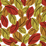 Abstract autumn leaves seamless pattern, vector background. Hand-drawn leaves on a white background. For fabric design Royalty Free Stock Photos