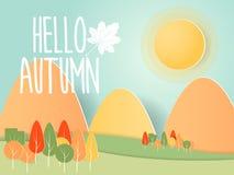 Abstract autumn nature background paper art. Vector illustration Stock Photo
