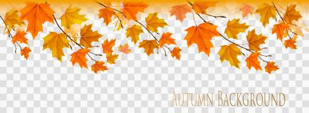 Abstract autumn panorama with colorful leaves royalty free illustration