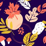 Abstract autumn pattern with leaves, mushrooms and graphic elements on dark background. Ornament for textile and wrapping. Vector stock illustration