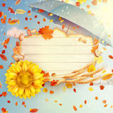 Abstract autumn poster with shining sun. EPS 10. Abstract autumn poster with shining sun and blurred background. EPS 10 vector file included Vector Illustration