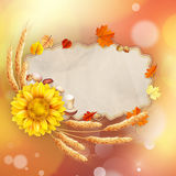 Abstract autumn poster with shining sun. EPS 10. Abstract autumn poster with shining sun and blurred background. EPS 10 vector file included Stock Illustration