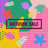Abstract autumn sale banner. Bright minimalistic abstract autumn sale banner. Flat vector cartoon illustration. Objects isolated on a white background Stock Images