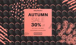 Abstract autumn sale banner. Autumn abstract sale banner with geometric and stroke hand drawn elements. Black and neon background for web sites, covers, flyers vector illustration