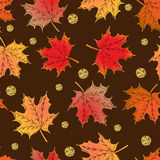 Abstract autumn seamless pattern. With red, yellow, orange maplre leaves and golden sparkling glossy dots royalty free illustration
