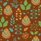 Abstract Autumn Seamless Pattern. Color Floral and Herbal Ornament vector illustration