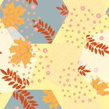 Abstract autumn seamless pattern with leaves and design elements. Vector illustration. Mosaic and geometric motifs stock illustration