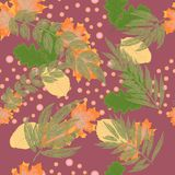 Abstract autumn seamless pattern with leaves and design elements. Vector illustration royalty free illustration