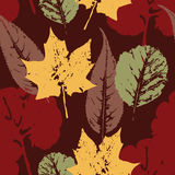 Abstract autumn seamless pattern with leaves. Vector background for various surface. Trendy hand drawn textures royalty free illustration