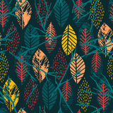 Abstract autumn seamless pattern with leaves. Vector background for various surface. Trendy hand drawn textures vector illustration