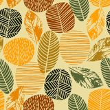 Abstract autumn seamless pattern with trees. Vector background for various surface. Trendy hand drawn textures stock illustration