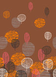 Abstract autumn seamless pattern with trees. Vector background for various surface. Trendy hand drawn textures royalty free illustration