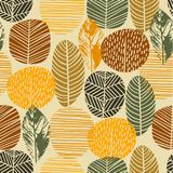 Abstract autumn seamless pattern with trees. Vector background for various surface. Trendy hand drawn textures vector illustration