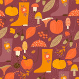 Abstract autumn seamless pattern. Vector background for various surface. Trendy hand drawn textures royalty free illustration