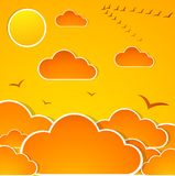 Abstract autumn sky. With clouds and sun royalty free illustration