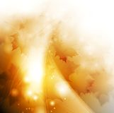 Abstract autumn sparkling illustration with waves. And leaves. Vector background Stock Image