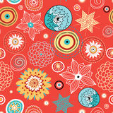 Abstract Autumn Texture. Seamless pattern of colored abstractions and ornamental flowers on red Royalty Free Illustration