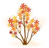 Abstract autumn tree. Abstract tree with flowery foliage in bright autumn colors vector illustration