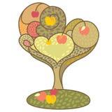 Abstract autumn tree. With apples  illustration Stock Photo