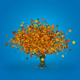 Abstract autumn tree. With moody green and orange leafs, made entirely from circles, on deep blue background Stock Photos