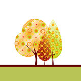 Abstract autumn tree greeting card. Abstract colorful autumn tree on white green background greeting card Stock Photos