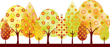 Abstract autumn tree greeting card. Abstract colorful autumn tree on white green background greeting card Stock Image