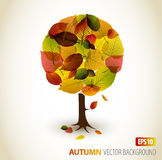 Abstract autumn tree illustration. Made from colorful leafs stock illustration
