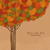 Abstract autumn tree illustration made of waves for your design Royalty Free Stock Photos