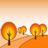 Abstract Autumn Tree Landscape. Abstract Colorful Autumn Tree Landscape Background royalty free illustration