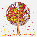 Abstract autumn tree with leaves flown. Isolated on white background Stock Photo