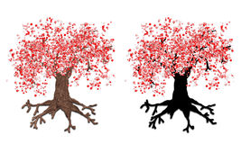Abstract autumn tree with silhouette. Painted fantasy autumn tree with silhouette of tree vector illustration