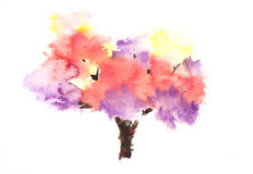 Abstract autumn tree. On white, watercolor hand painted Vector Illustration