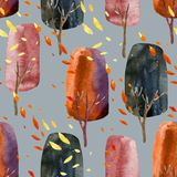 Abstract autumn trees with falling leaves, watercolor seamless pattern. Royalty Free Stock Image