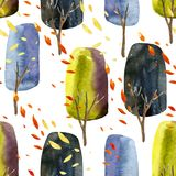 Abstract autumn trees with falling leaves, watercolor seamless pattern. Stock Image