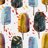 Abstract autumn trees with falling leaves, watercolor seamless pattern. Stock Photo