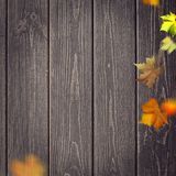Abstract autumnal backgrounds. Fall maple leaves over vintage wooden desk royalty free stock image
