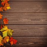 Abstract autumnal backgrounds. Fall maple leaves. Over vintage wooden desk royalty free stock images