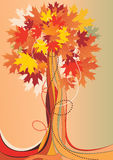 Abstract autumnal tree. With leaves Royalty Free Stock Photos