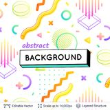 Abstract avangarde retro background. Vector multicolored geometric shapes. Simple light backdrop Royalty Free Stock Image