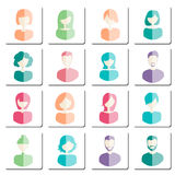 Abstract avatars. Social network private users avatar. Man and woman avatar flat icons. Vector illustration Royalty Free Illustration